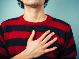 Chest view of man with hand on his heart pledging allegiance