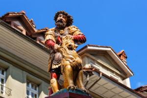 Samson fountain in Kramgasse street in old city center of Bern, Switzerland