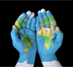 Asking for help in ministry Hands held out in front together with the image of the world map