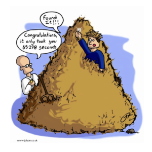 cartoon with two people in a hay stack, one found the needle in the hay stack and held it up saying 'I found it' the the other man saying 'congratulations it only took you 65279 seconds'