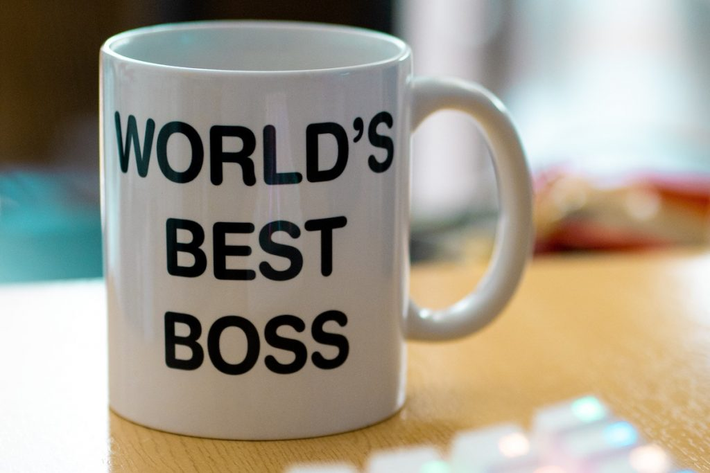 white world's best boss cup staff